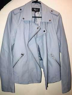 Brand New Thyme Maternity Baby Blue Leather Jacket