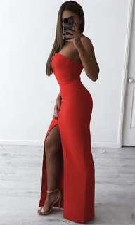 House of cb red gown dress