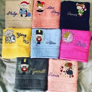 Personalised/customised embroidery towels