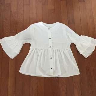 White Peplum Long Sleeve Top