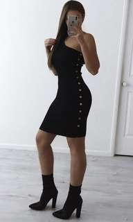 Hot pink avenue black ribbed Dress