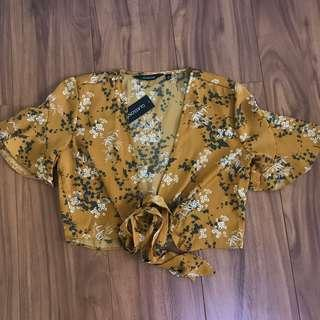 Yellow floral tie up top