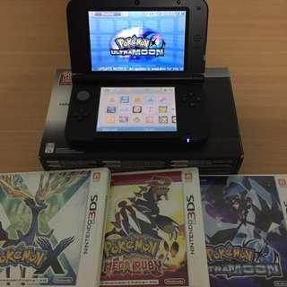 Nintendo 3ds xl + 3 Pokémon Games