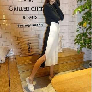 韓國購入黑白拚色針織及膝裙