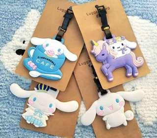 (1套4款)旅行用品 Sanrio Cinnamoroll 玉桂狗 軟膠 旅行箱 行李牌