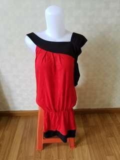 Dress Wanita Merah Hitam