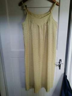 Mustard summer dress, old school material