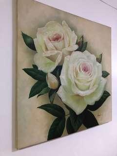 Oil Painting Dusty Pink Rose