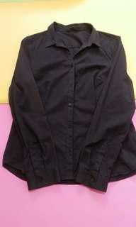 Net黑色長袖襯衫