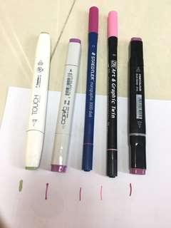 顏色筆 全部多墨水、 好新 (全部$35)