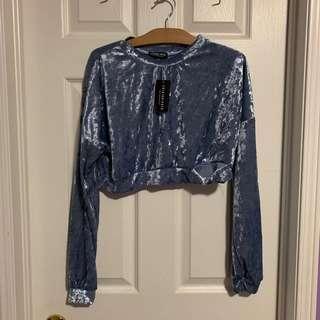 ❤️BNWT fashion nova velvet crop long sleeve