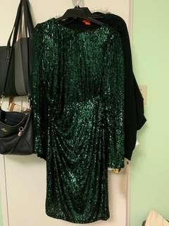 Green along sleeve sequin dress
