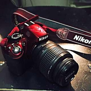 Nikon D3200 Red, With 18-55mm VR Kit Lens.