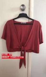 ALLY FASHION CROP TOP TIE SIZE XS