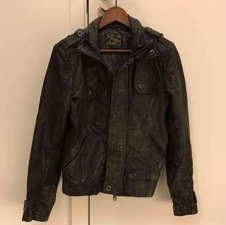 Blue Heroes Men Leather Jacket 男裝皮褸 size S
