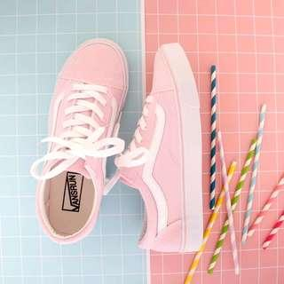 Pink Sneakers Shoes white stripe pretty stylish women Vans old skool style