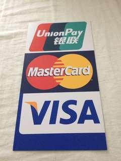 (全新,原裝)Visa, Master, UnionPay 貼紙 112mm width ; 212mm height  (Brand New, Original) Sticker