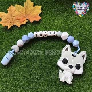 Handmade Customized Pacifier Clip with letter beads + Light grey dog Teether