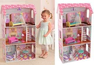 Penelope wooden Dollhouse( with complete accessories) with free barbie dolls