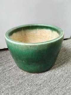 清代  綠釉缸 23x24cm高