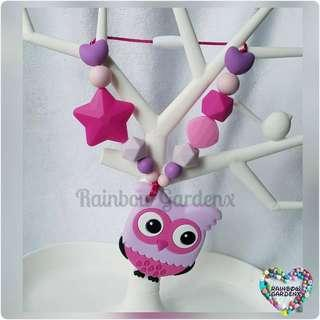 Rose Owl Teether with beads Carrier Accessory