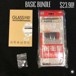 🚚 (DISCOUNT) NINTENDO SWITCH CLEAR HARD DOCKABLE CASE TEMPERED GLASS