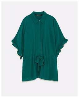 Zara Women Blouse Green Emerald with tie around the waist and ruffles