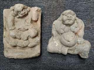明朝 陶制壁彫羅漢 2件