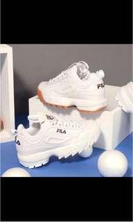 便宜降價含運 韓國限定 正品 FILA DISRUPTOR2 焦糖底大鋸齒厚底球鞋 復刻版 老爺鞋
