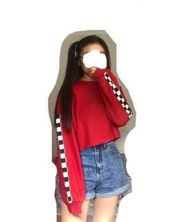 Red Cropped Jumper Sweater w/ Checkered Detail