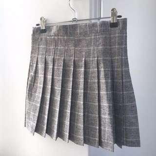 Grey Plaid Skater Skirt