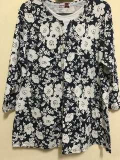 🔖Preloved Blue White Floral Shirt Blouse