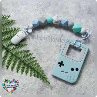 Handmade Silicone beads Pacifier Clip + Blue Gameboy teether combo