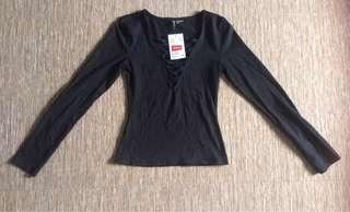 H&M Lace Up Fitted Top