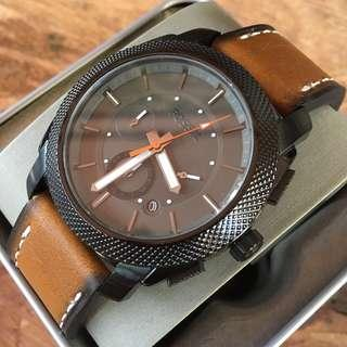 Fossil Machine Chronograph Black Dial/Brown Leather Men's Watch