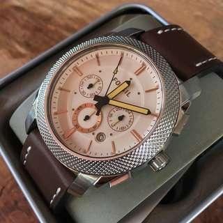 Fossil Machine Chronograph Amber-tinted Dial/Leather Men's Watch