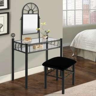 Home Source Black Vanity & Upholstered Bench Furniture