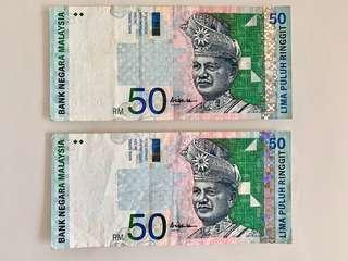 Rm50 year 1999 for sale. Selling for rm250 both notes.