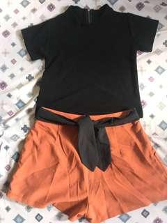 Black Top and Ribbon Skirt Bundle