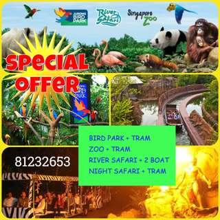Limited Offer: Jurong Bird Park / ZOO / River Safari / Night Safari