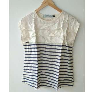 Blouse Stripped navy white blus garis-garis lengan pendek biru putih #bersihbersih