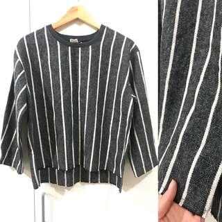 Korean Striped Wool Top