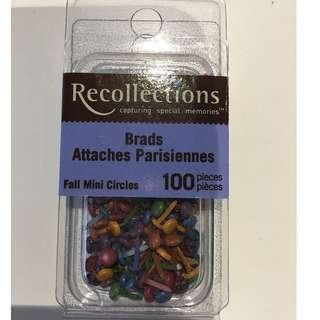 Scrapbooking Embellishments Recollections Fall Mini Circles Brads 100 pieces Craft Paper Invitations