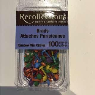 Scrapbooking Embellishments Recollections Rainbow Mini Circles Brads 100 pieces Craft Paper Invitations
