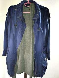 🚚 韓國帶回♡質感寶藍色 長版風衣外套