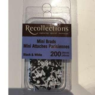 Scrapbooking Embellishments Recollections Black & White Mini Circle Brads 200 pieces Craft Paper Invitations