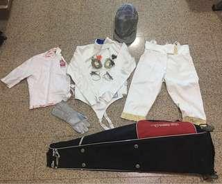 Fencing Jacket, Breeches, Plastron, Mask and 2x Head and Body Wire and bag
