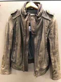 Salad washed colour Leather Jacket