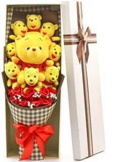 Winnie The Pooh / Pooh Bear Bouquet - Valentine's Day / Anniversary / Proposal / Birthday / Farewell / Graduation / Get well soon