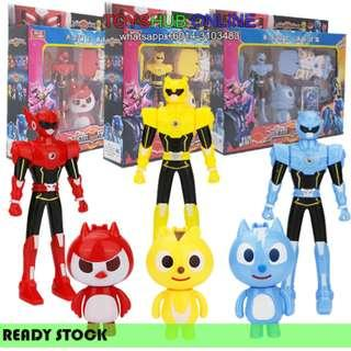New Mini Force Collection Robot Toys Figures With Weapon sound light
